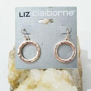 NWT Liz Claiborne Gold Tone Earrings Circle D5